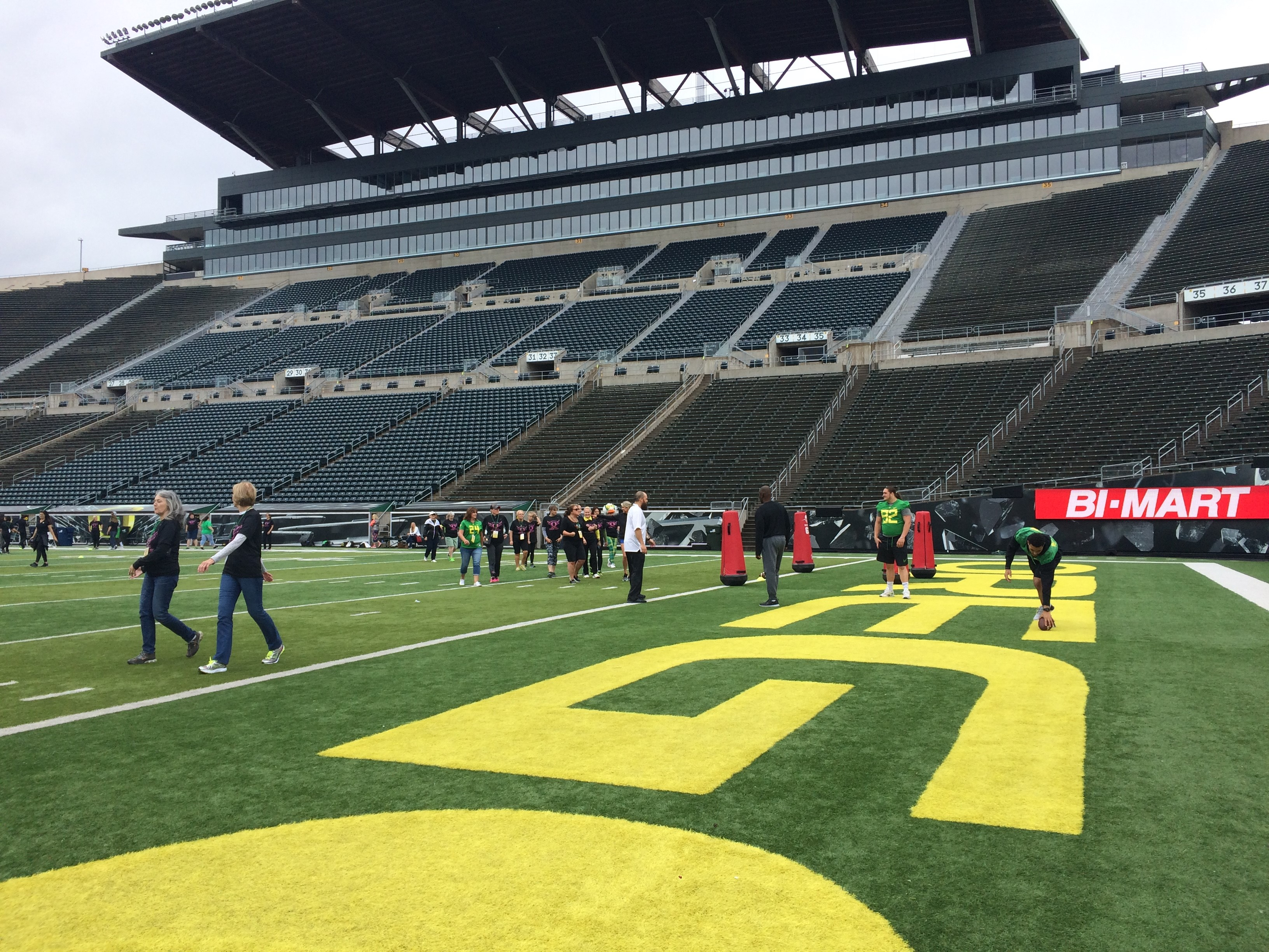 Dozens of women learned how to be a football player at UO's football clinic, June 3, 2017. (SBG photo)
