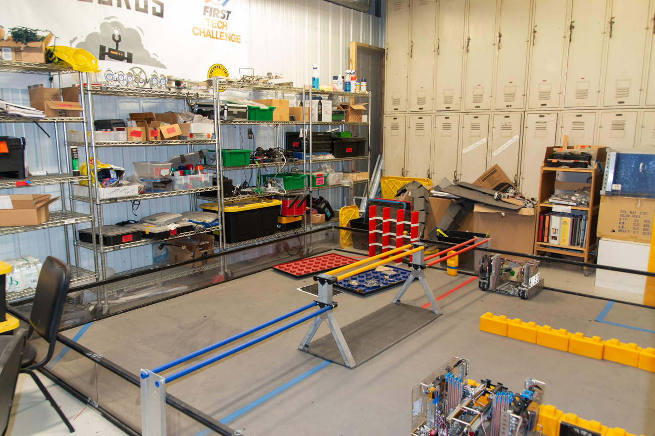 <p>Walnut Hills High School's Robotics Team has their own space in the warehouse where they work on their arena and robots for their yearly challenge. / Image: Elizabeth A. Lowry // Published: 7.17.20</p>