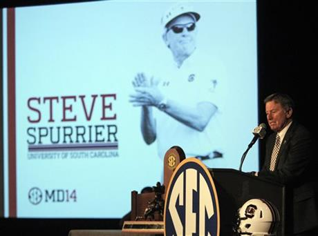 South Carolina football coach Steve Spurrier speaks to media at the Southeastern Conference media days, Tuesday, July 15, 2014, in Hoover, Ala.