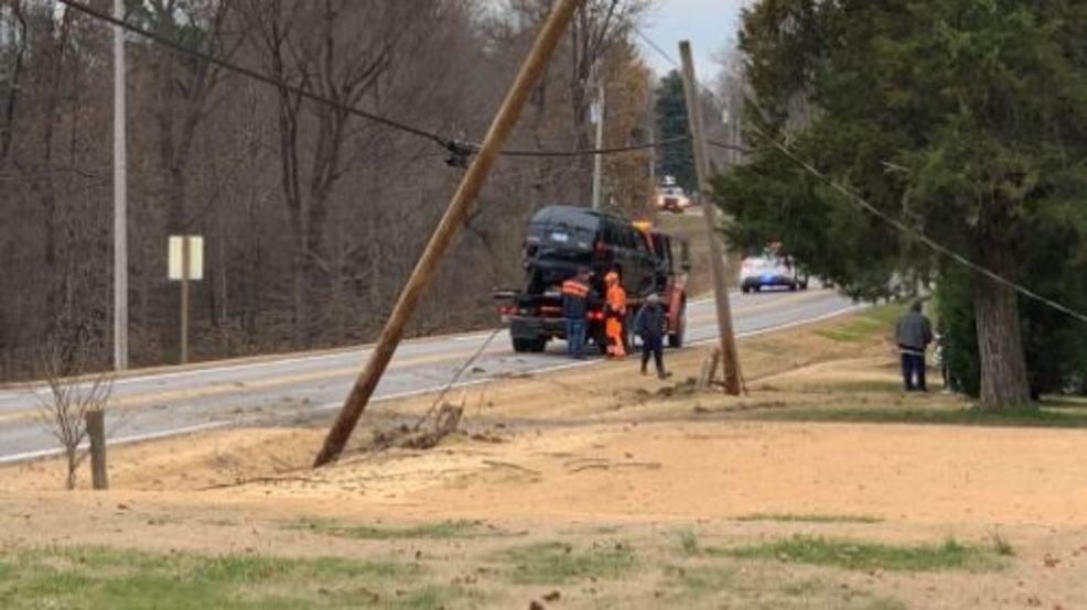 Driver swerves to miss deer, hits 2 utility poles in Pulaski Co., IL (justin fisher, kfvs).JPG