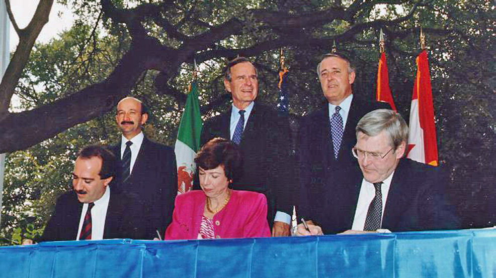 North American Free Trade Agreement gets signed on Oct. 7, 1992 in San Antonio