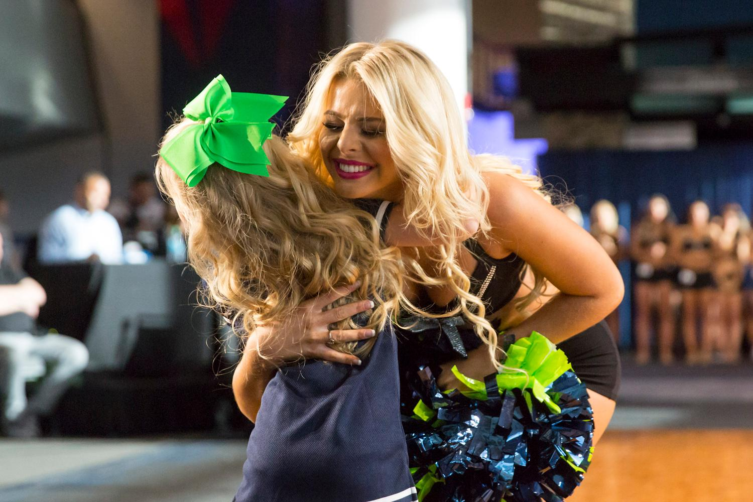 Welcome Kylie, a 2018 Sea Gal! Dancers performed a choreographed routine and spoke briefly about themselves. The entire evening was live broadcasted on the Seahawks website. (Sy Bean / Seattle Refined)