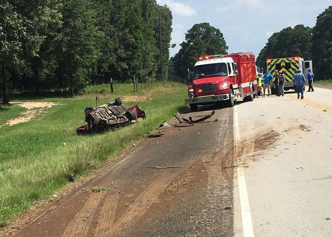 The vehicle landed on its roof on the side of Highway 96 near Bronson. (Photo courtesy of DailyNewsAndMore.com)