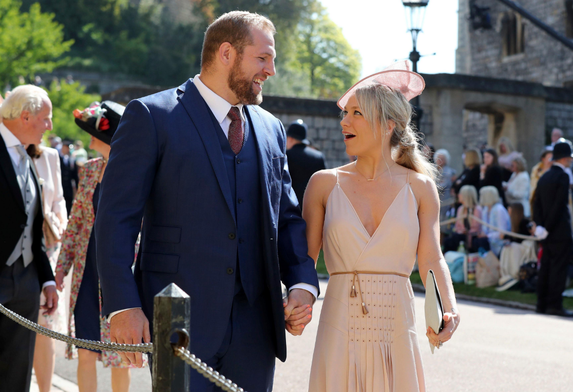 James Haskell and Chloe Madeley arrive for the wedding ceremony of Prince Harry and Meghan Markle at St. George's Chapel in Windsor Castle in Windsor, near London, England, Saturday, May 19, 2018. (Gareth Fuller/pool photo via AP)<p></p>