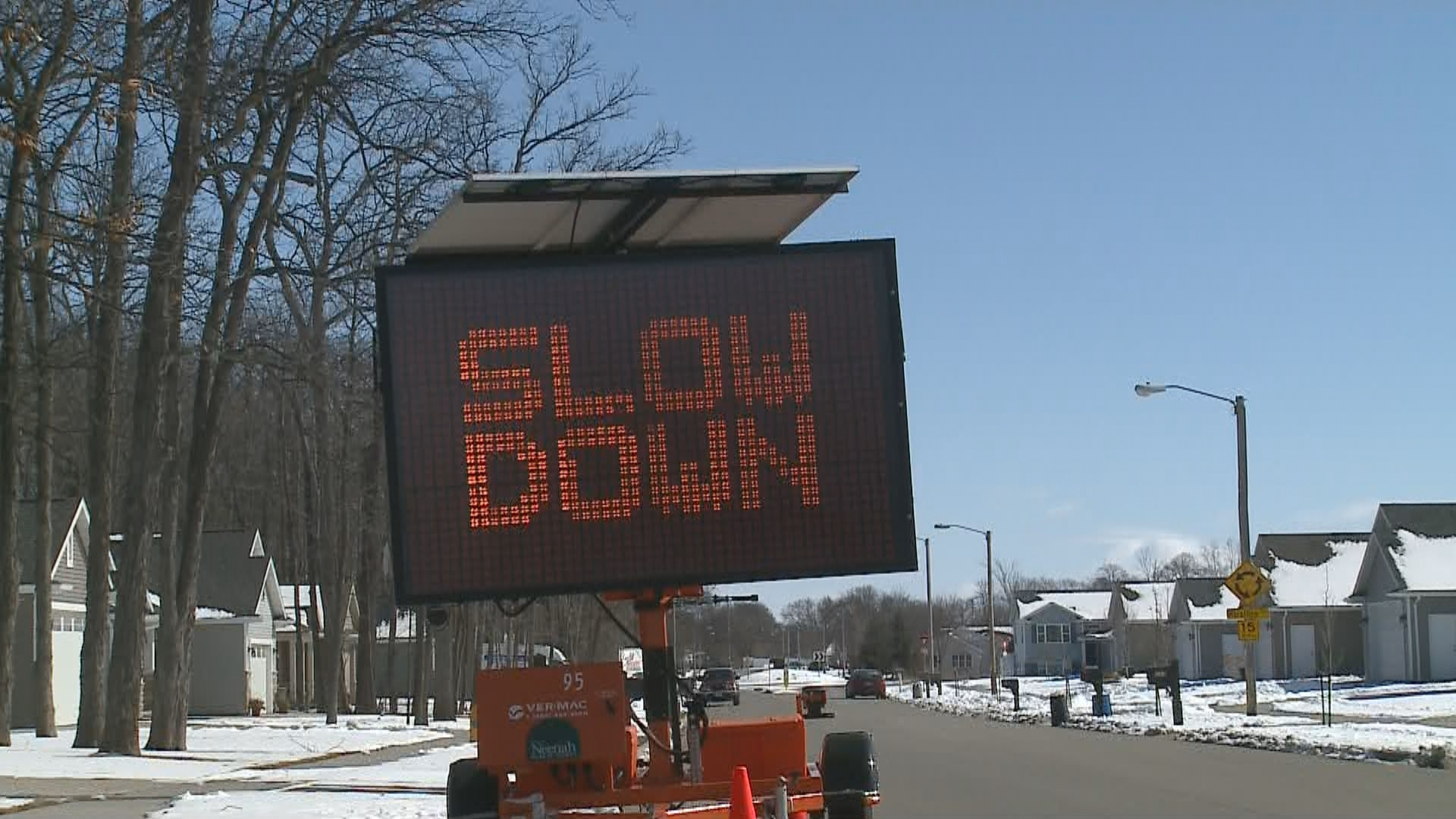 Neenah road sign in the area of Castle Oak Drive and Marathon Avenue, March 8, 2018. (WLUK)<p></p>