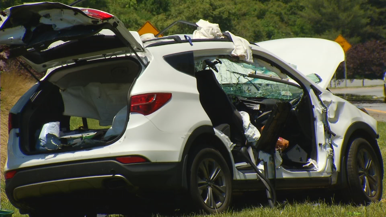 Police said it appears an 18-wheeler rear ended a white SUV on Interstate 240 westbound near the Chunn's Cove Road exit. (Photo credit: WLOS staff)