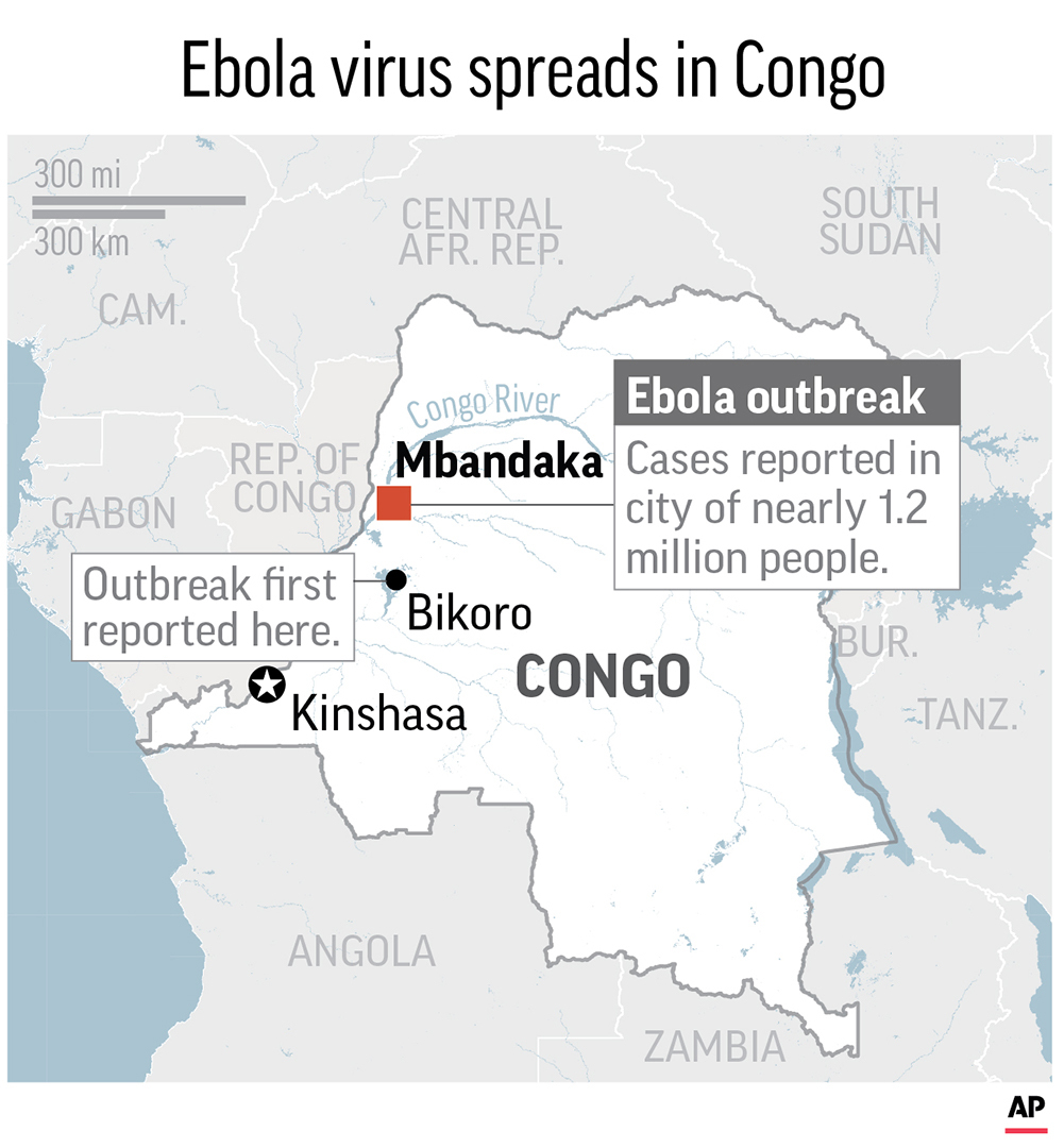 Maps locates Mbandaka, Congo, where an ebola virus outbreak has been reported in the city of 1.2 million people; 2c x 3 1/2 inches; 96.3 mm x 88 mm. (AP)