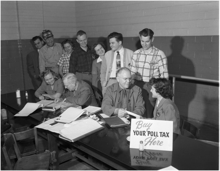 Voters pay poll taxes in a Fort Worth cafeteria on November 9, 1951. (Lockheed Martin Aeronautics Company)