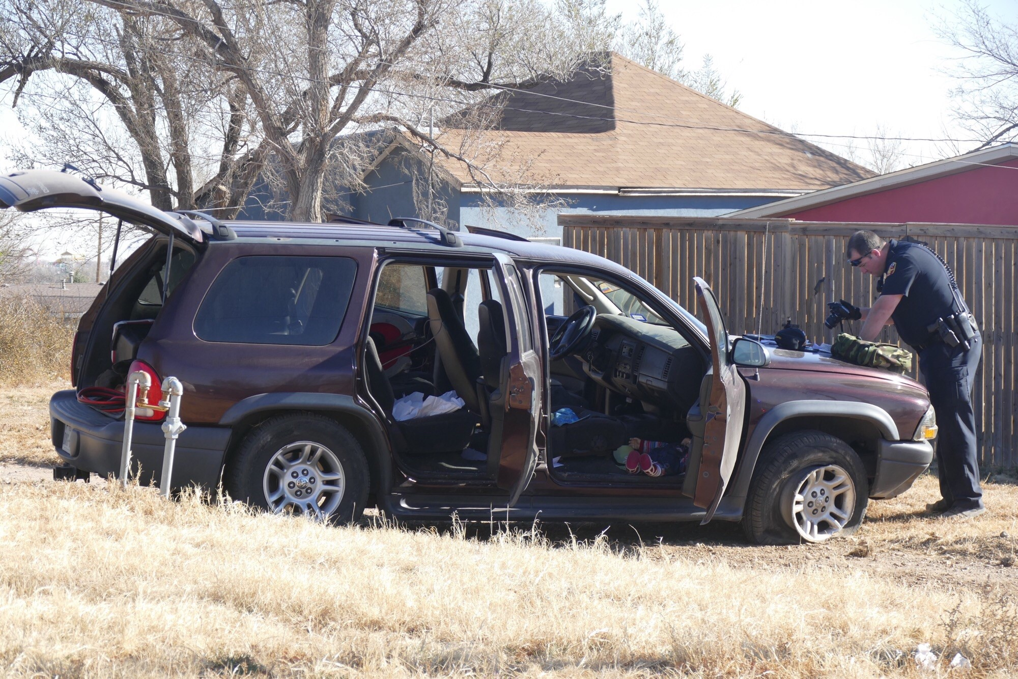 The Amarillo Police Department arrested a man on Monday after spotting a stolen vehicle in Northwest Amarillo. (Photo Courtesy: ABC 7 Amarillo-Steve Douglass)
