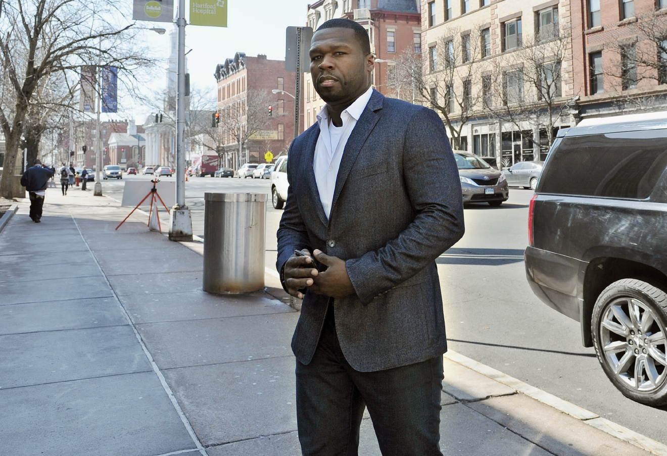 "FILE - In this Wednesday, March 9, 2016 file photo, Curtis ""50 Cent"" Jackson arrives at court for a federal bankruptcy hearing in Hartford, Conn. (AP Photo/Jessica Hill)"