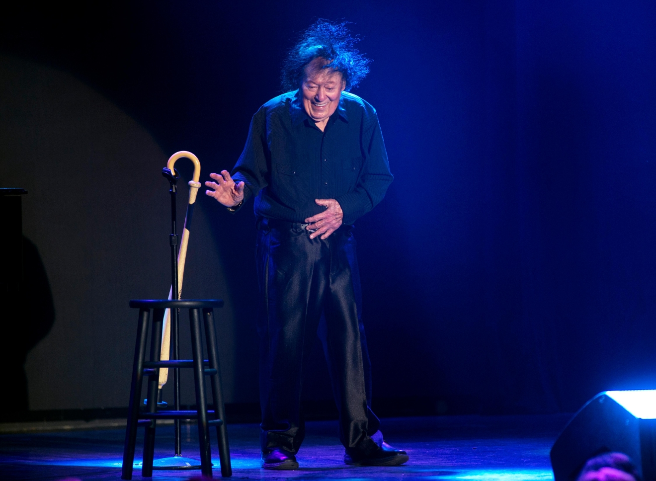 Comedian Marty Allen performs a little dance to celebrate his 95th birthday during a show at the South Point Thursday, March 23, 2017. [Sam Morris/Las Vegas News Bureau]