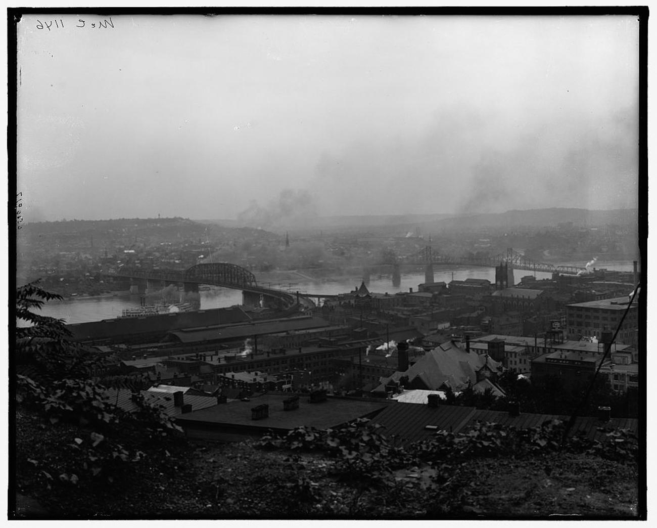 """View from Mount Adams, showing Ohio River, L. & N. Ry. bridge & S.R.R. bridge, Cincinnati, Ohio"" some time between 1910 and 1920 / Image: Detroit Publishing Co. accessed via the Library of Congress // Published: 3.4.19"