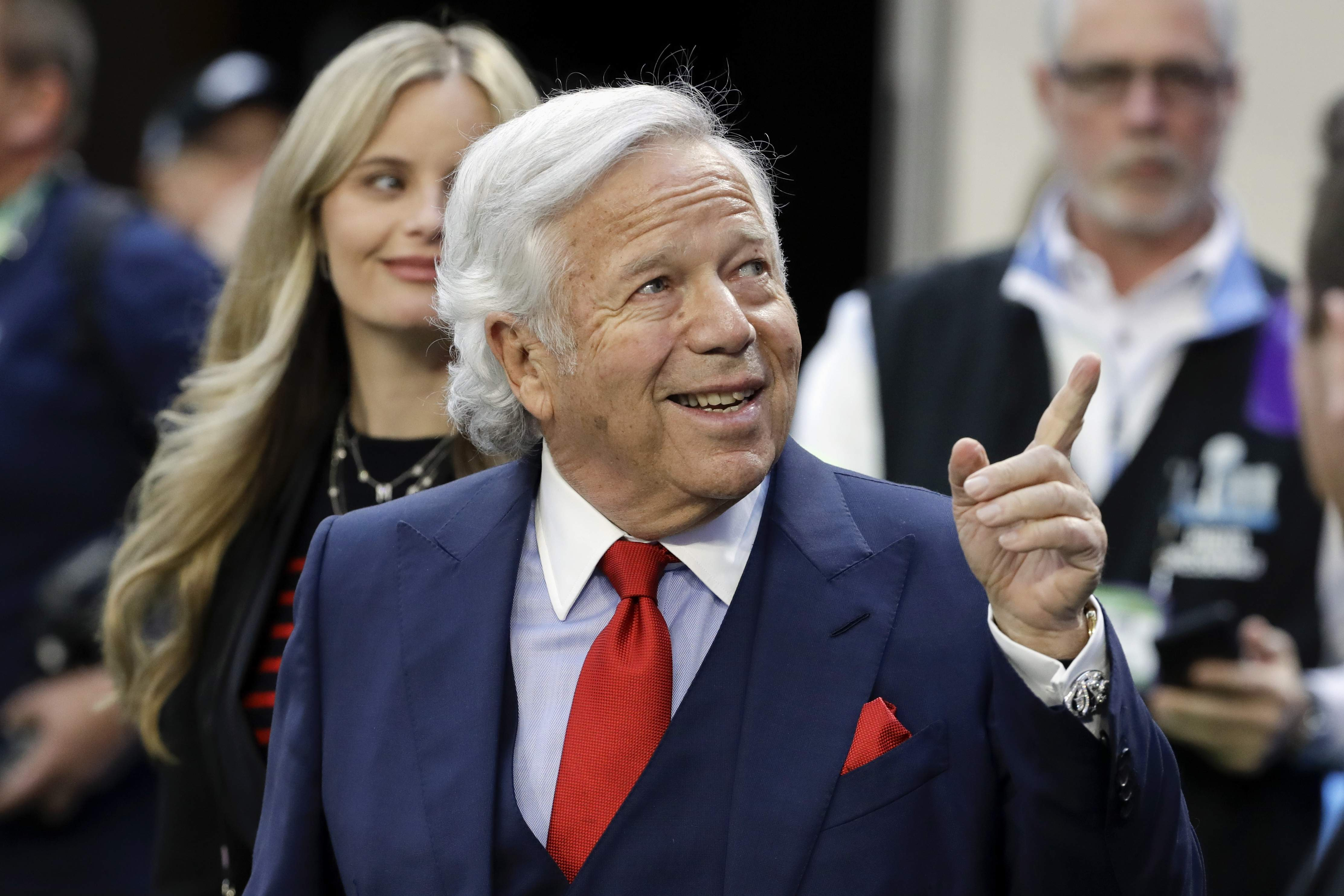 New England Patriots owner Robert Kraft, arrives at U.S. Bank Stadium before the NFL Super Bowl 52 football game against the Philadelphia Eagles, Sunday, Feb. 4, 2018, in Minneapolis. (AP Photo/Chris O'Meara)