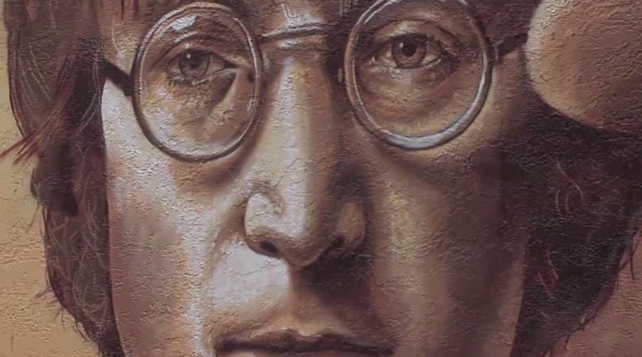 John Lennon as pictured on the mural of the Mount Pleasant Moe's. (WCIV)