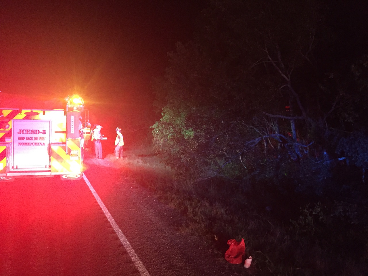 A 23-year-old Beaumont man was found dead from an apparent gunshot wound Tuesday morning after a crash on Highway 90 in Jefferson County, according to the Texas Department of Public Safety. (KFDM/Fox 4 photos)