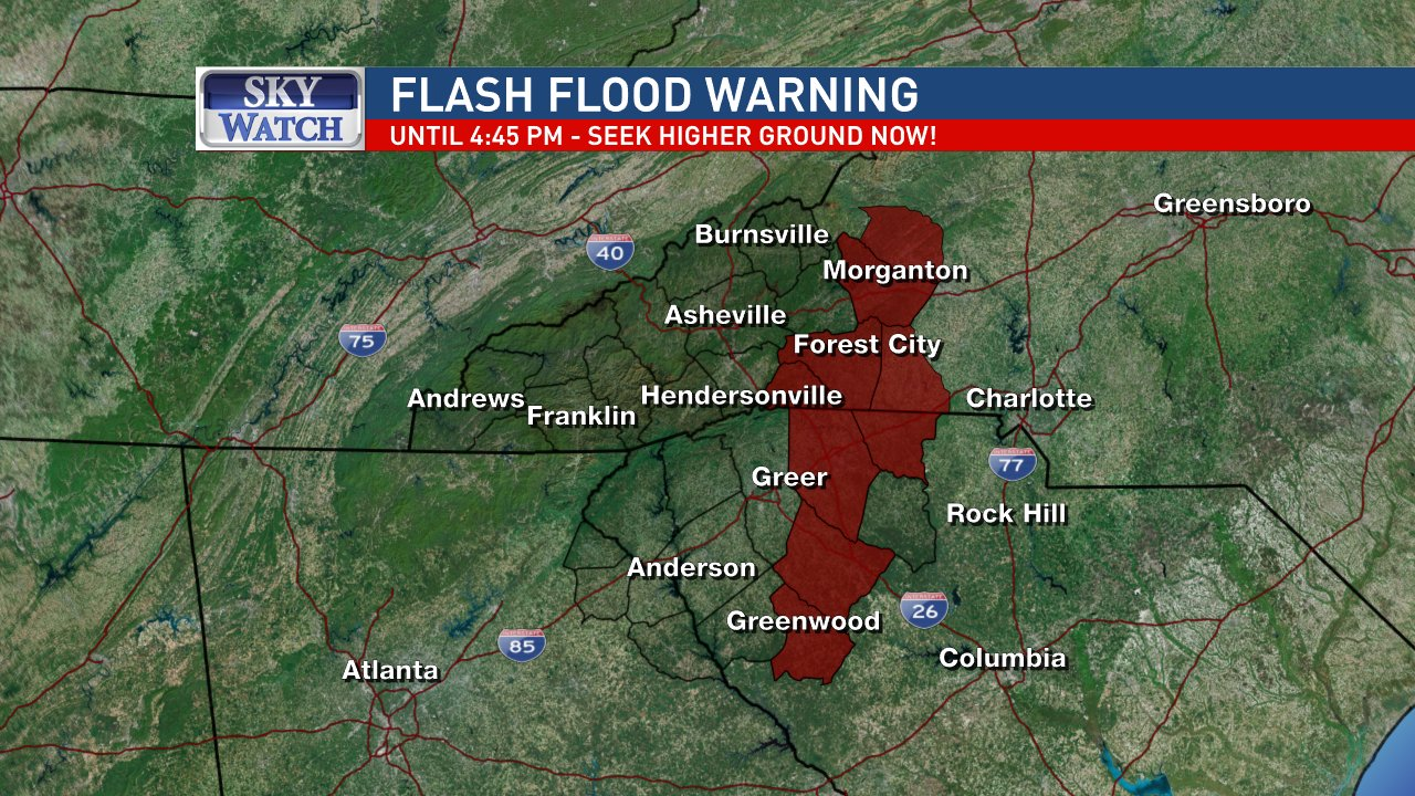 There is a Flash Flood WARNING (flash flooding is happening or about to happen) until 4:45 Sunday in the areas shown. Image: WLOS{ }