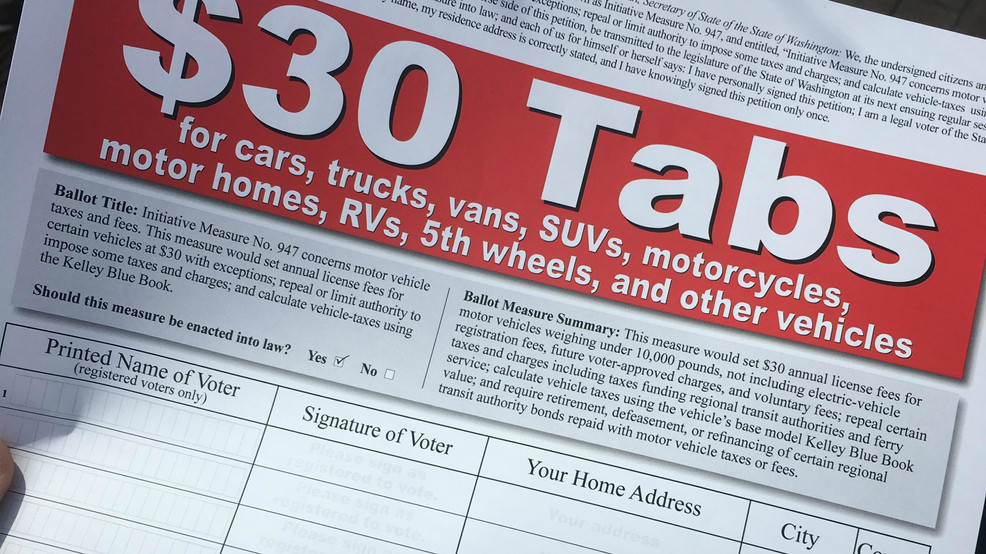 Why WA voters will have to wait longer for $30 car tabs