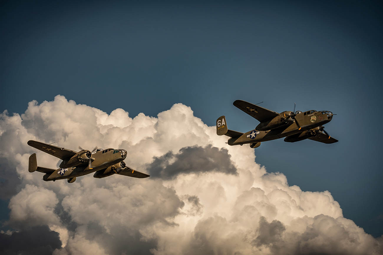 """Yankee Doodle"" leading a two-ship formation during aerial filming for Catch-22 / Image: Philippe Antonello via Catch-22 on Hulu // Published: 10.15.19"