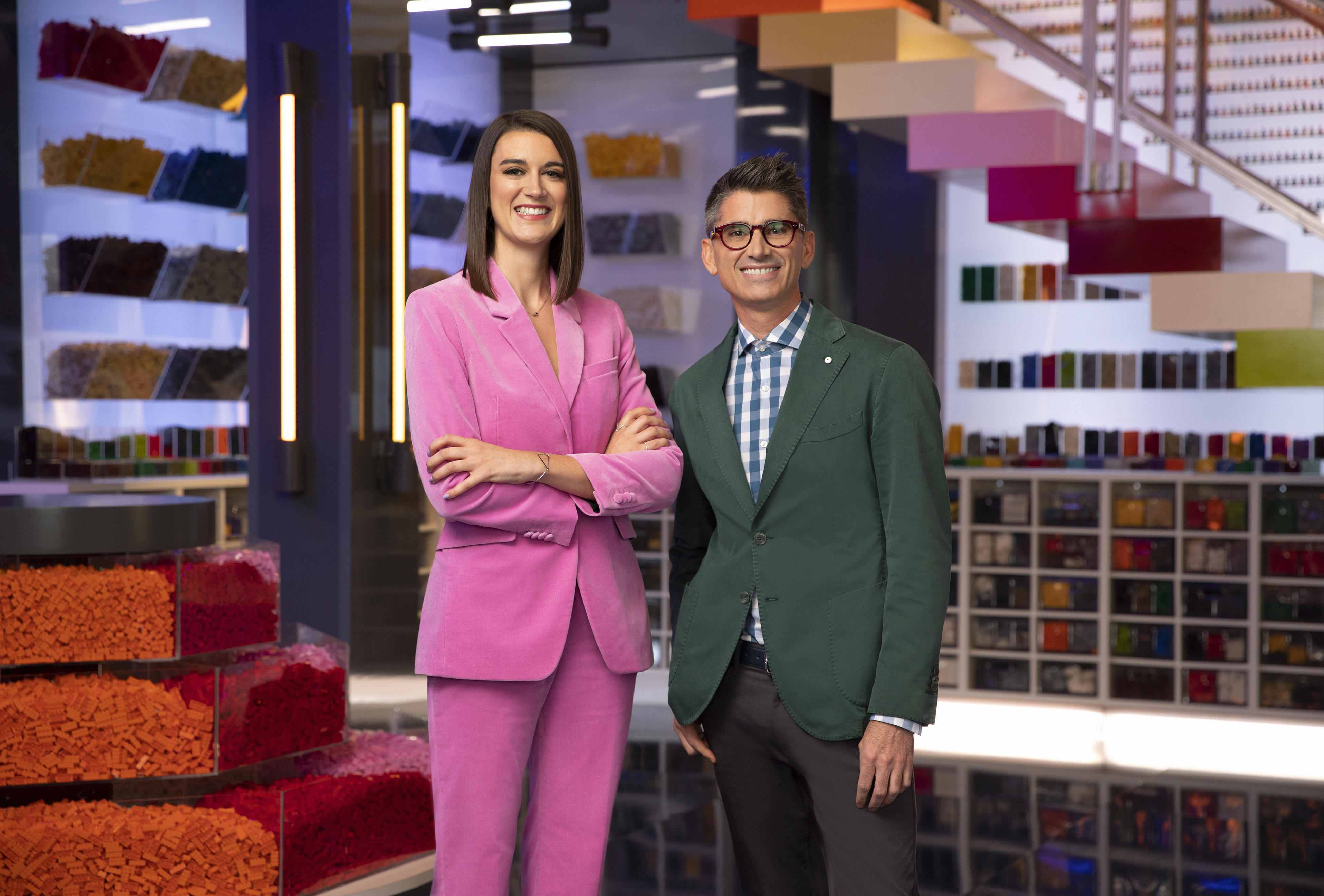 "Judges Amy Corbett and Jamie Berard  on ""Lego Masters"", Saturday, June 26 at 9 p.m. on Pittsburgh's FOX 53. (Photo courtesy:{ } Drew Herrmann/FOX)"