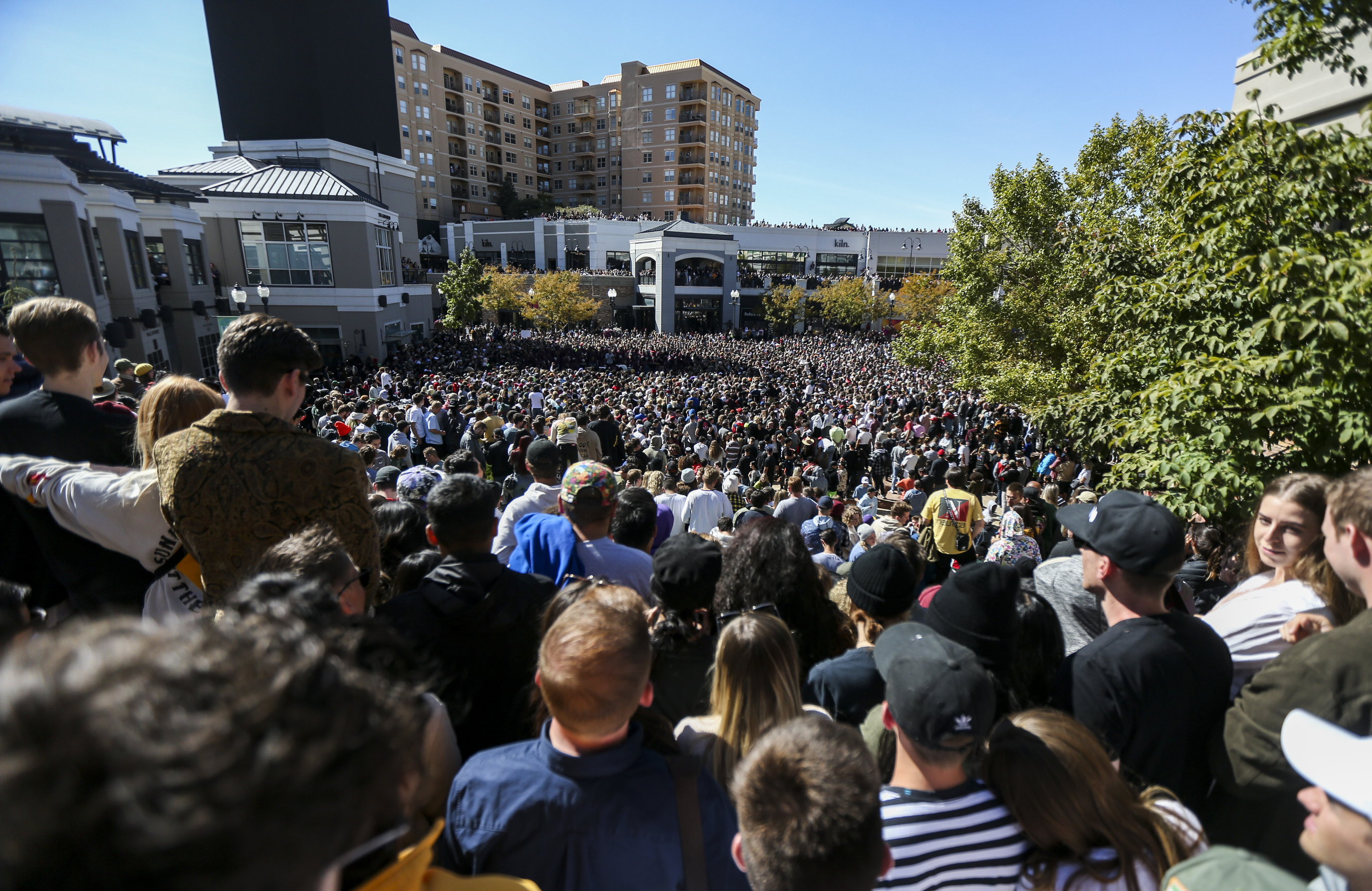 "Thousands pack into The Gateway in Salt Lake City for Kanye West's ""Sunday Service,"" Saturday, Oct. 5, 2019. (Colter Peterson/The Deseret News via AP)"