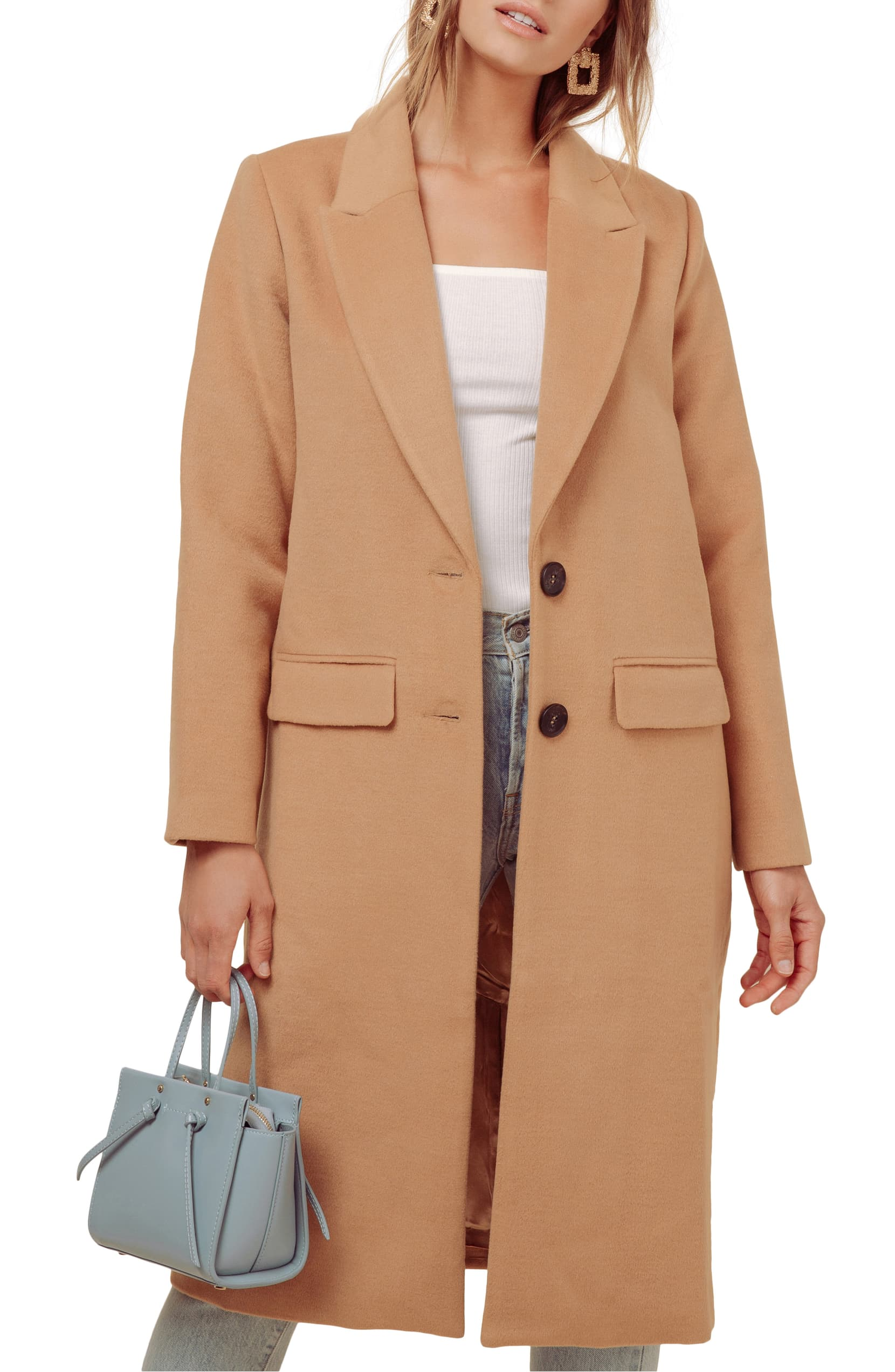 Amp up your sophistication level in this soft camel coat designed in a longline fit for warm, work-to-play polish. Shop it{ }- $178. (Image: Nordstrom){ }