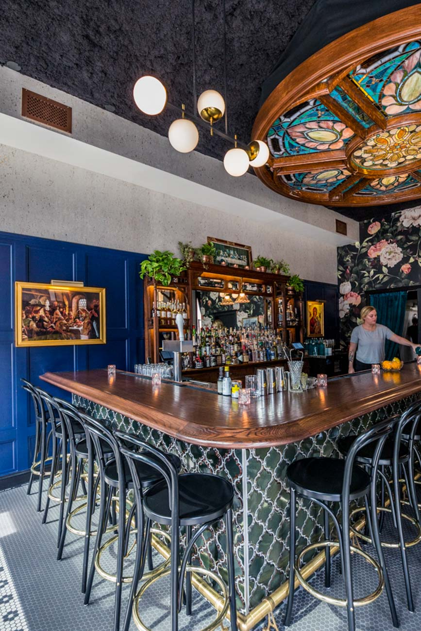Sediment Design made the bar, drink rail, and wall paneling at Wodka Bar / Image: Catherine Viox // Published: 9.24.20