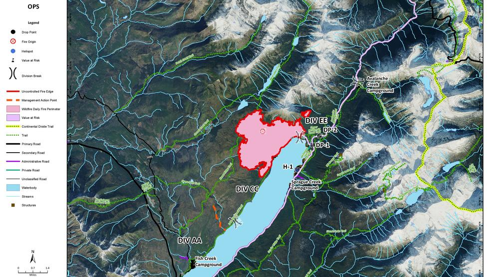 New Map Shows The Uncontrollable Fronts On The Fire In Glacier
