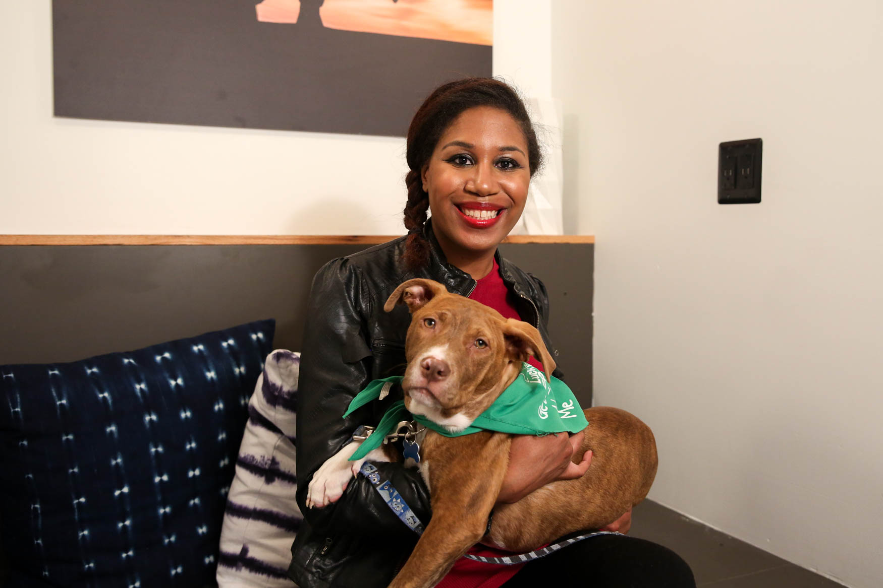 Meet Uncle and Stephanie, a 5-month-old Terrier mix and a 34-year-old human respectively. Photo location: Moxy Washington, D.C. Downtown (Image: Amanda Andrade-Rhoades/ DC Refined)