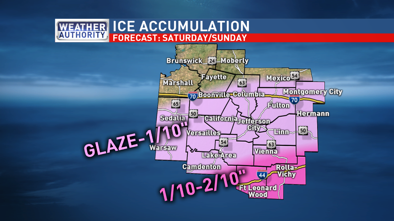 Ice accumulations are more likely farther south, particularly closer to the Lake of the Ozarks and Interstate 44. (KRCG 13 Weather Authority)