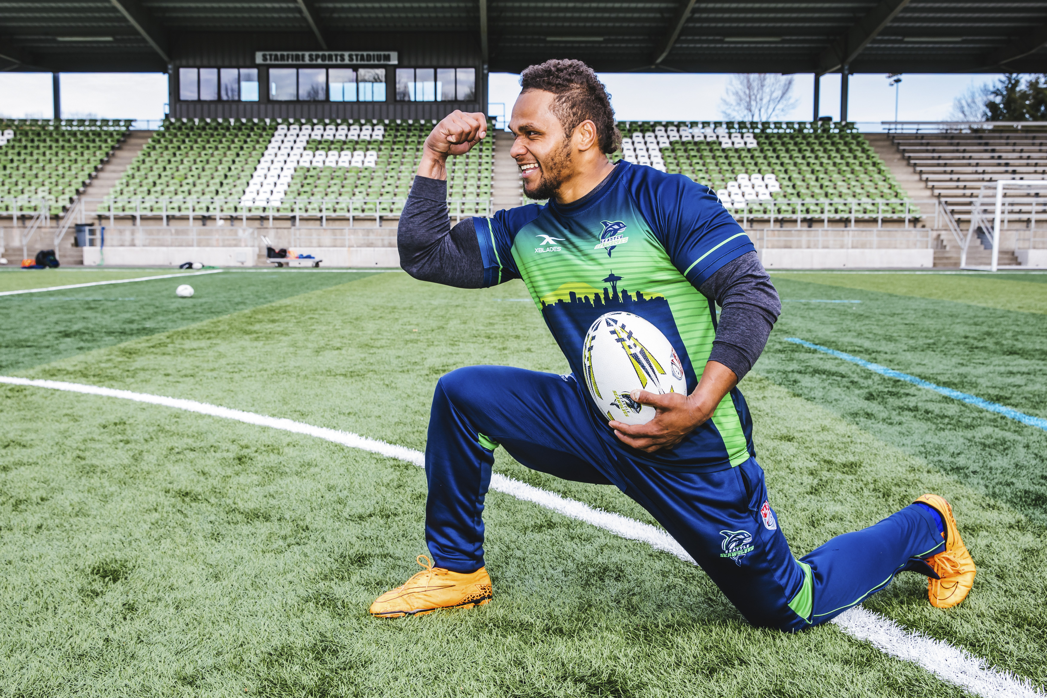 Holy Moses! Sorry, I had to do it. No, but seriously, meet Moses! The 29 year old is originally from Suva, Fiji and plays Center-Wing for the Seattle Seawolves! His favorite film is Passion of Christ (Image: Seattle Refined).