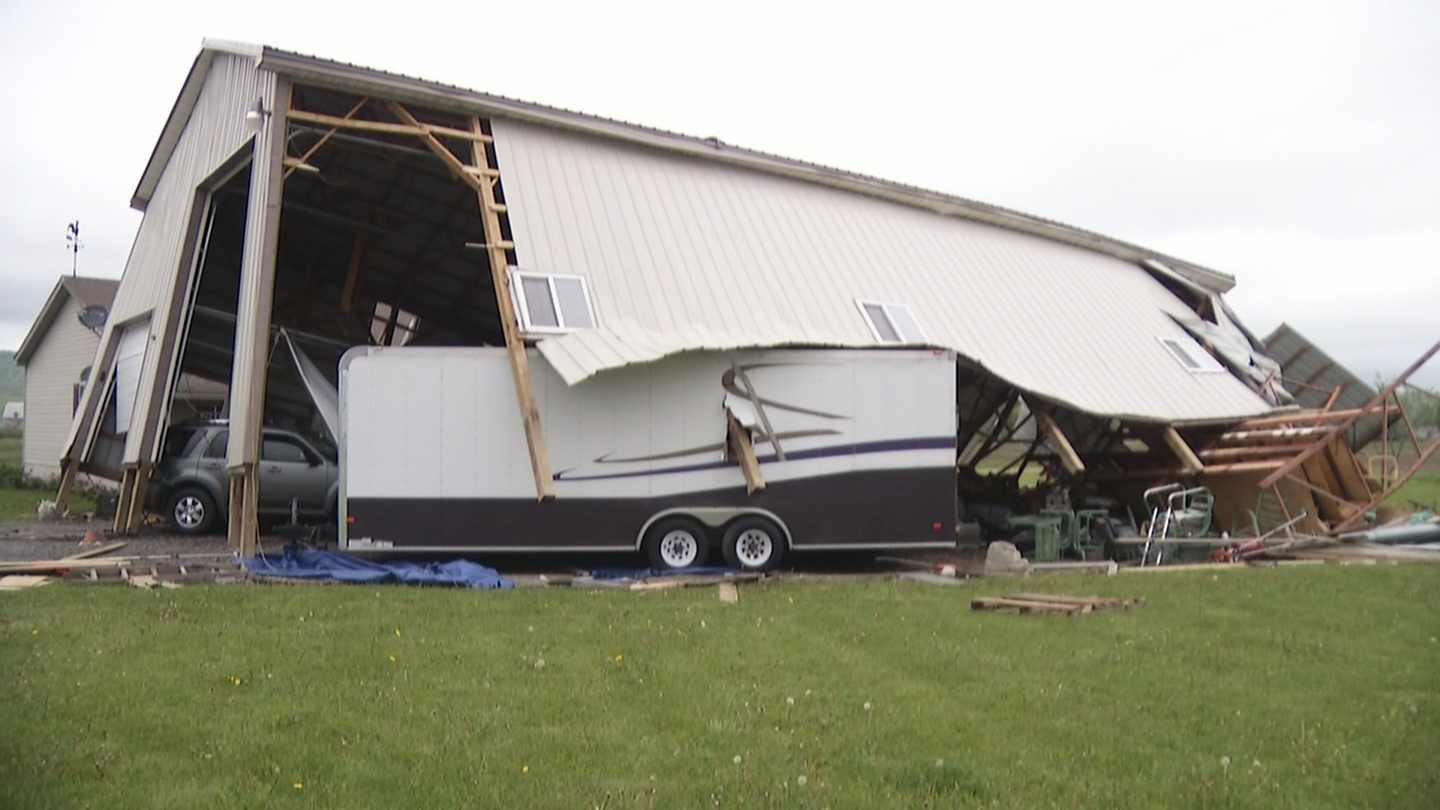 Heavy winds lift garage off ground, slam it down damaging almost everything inside in Madison County