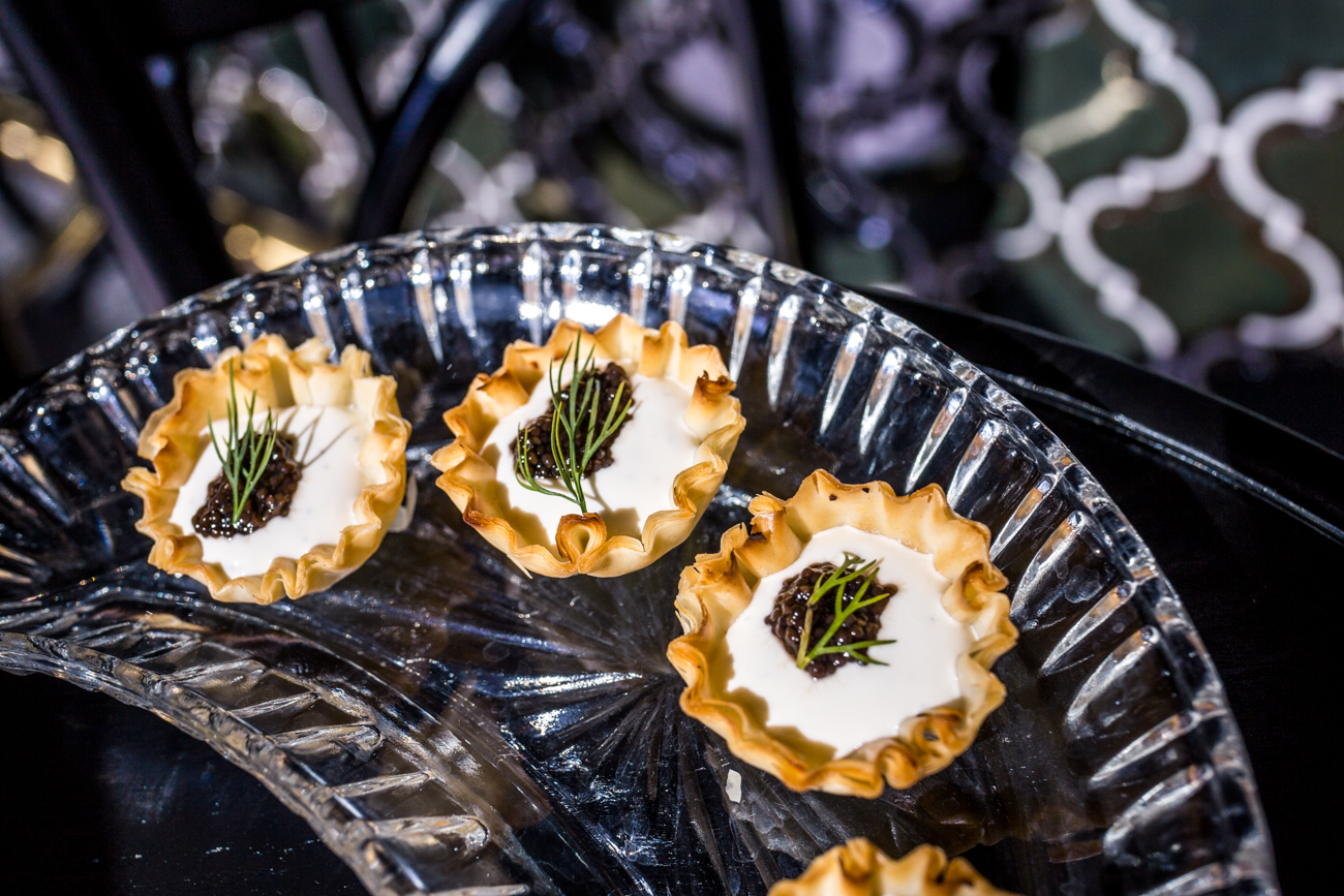Caviar in Puff Pastry: pastry cups filled with lemon and dill creme fraiche, topped with bowfin caviar / Image: Catherine Viox{ }// Published: 6.28.19