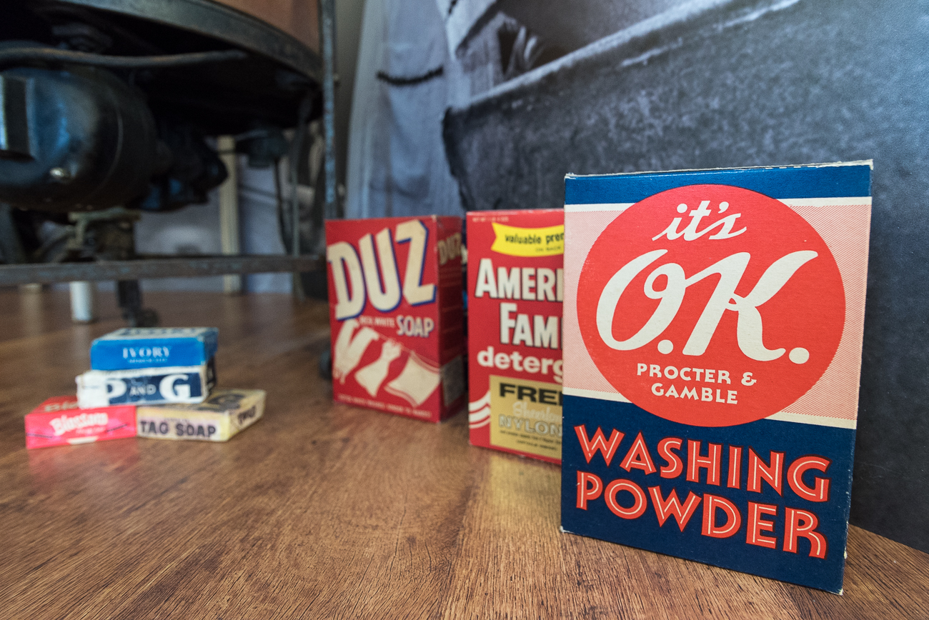 Displays of old packaging remind workers of P&G's long history in Cincinnati. / Image: Phil Armstrong, Cincinnati Refined // Published: 5.7.18