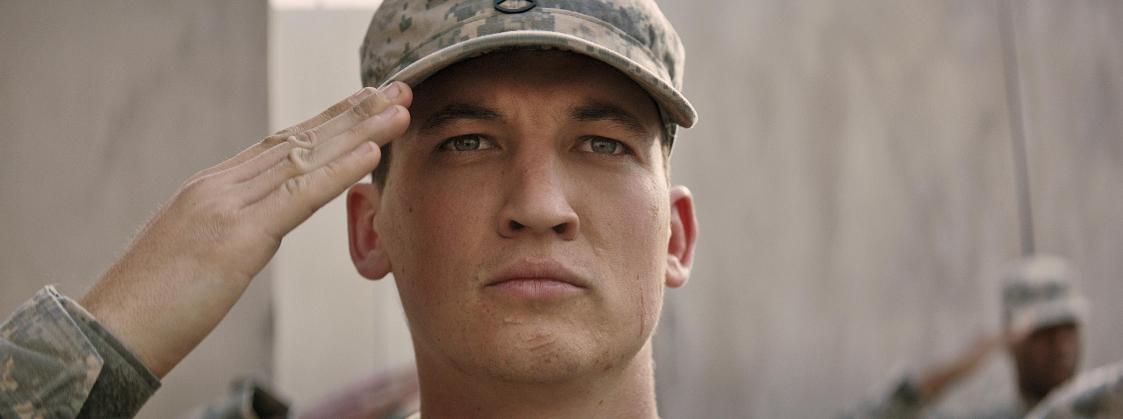 "Adam Schumann (MILES TELLER) in DreamWorks Pictures' ""Thank You for Your Service.""  The drama follows a group of U.S. soldiers returning from Iraq who struggle to integrate back into family and civilian life, while living with the memory of a war that threatens to destroy them long after they've left the battlefield."