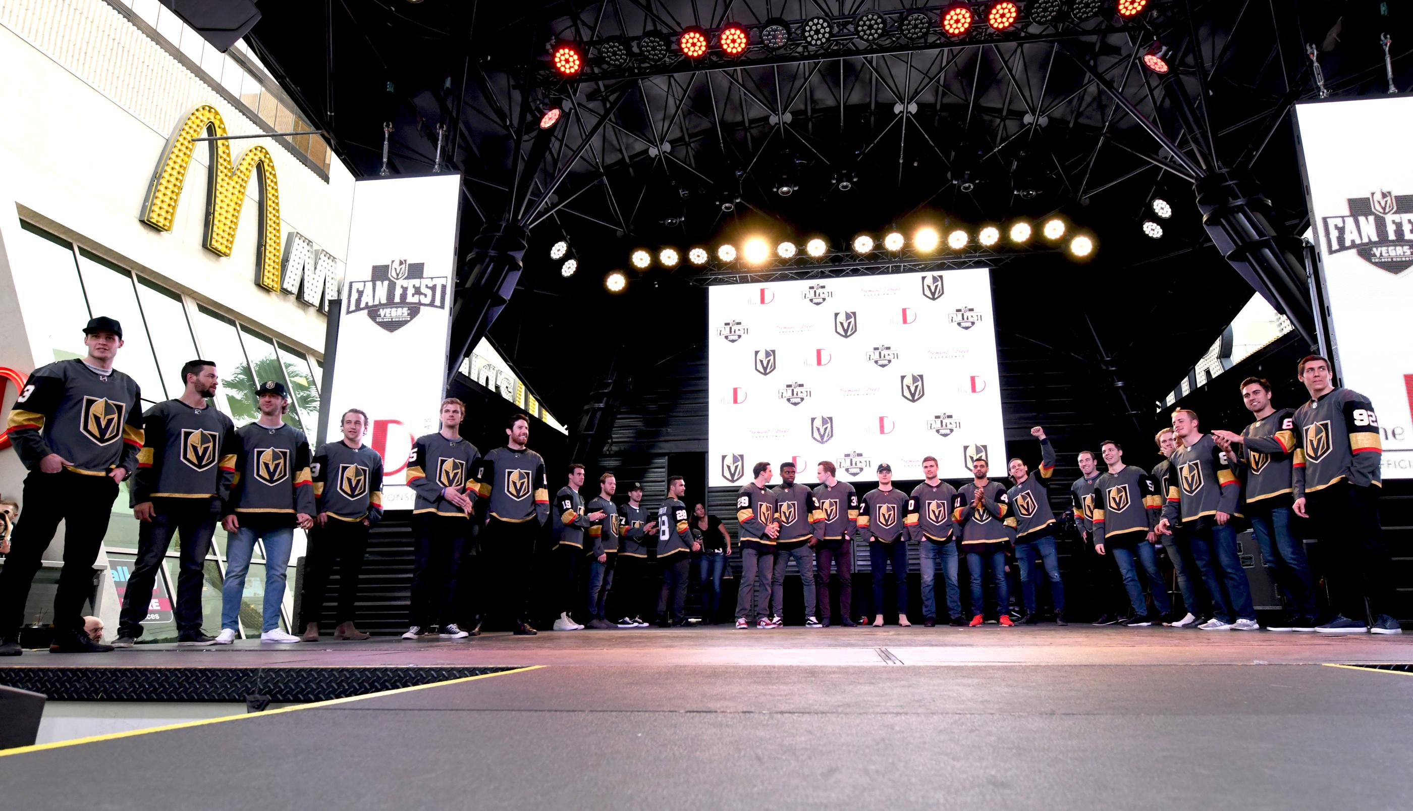 The Golden Knights host a Fan Fest with the D Las Vegas and Fremont Street Experience. Las Vegas Golden Knights professional hockey team takes the stage at Fremont Street Experience. Sunday, January 14, 2017. CREDIT: Glenn Pinkerton/Las Vegas News Bureau