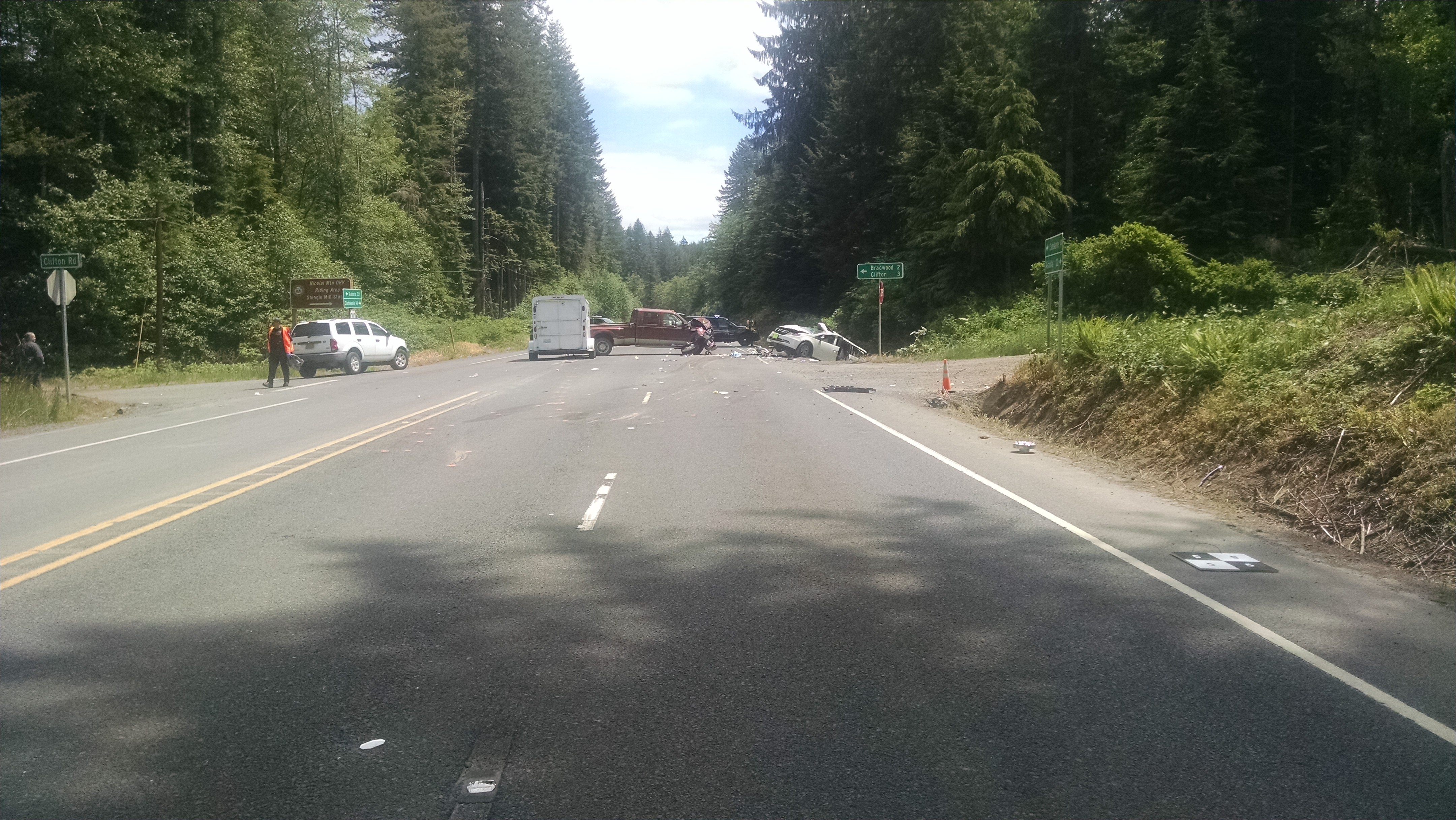 Head-on crash on Highway 30 kills four (Photo from Oregon State Police)<p></p>