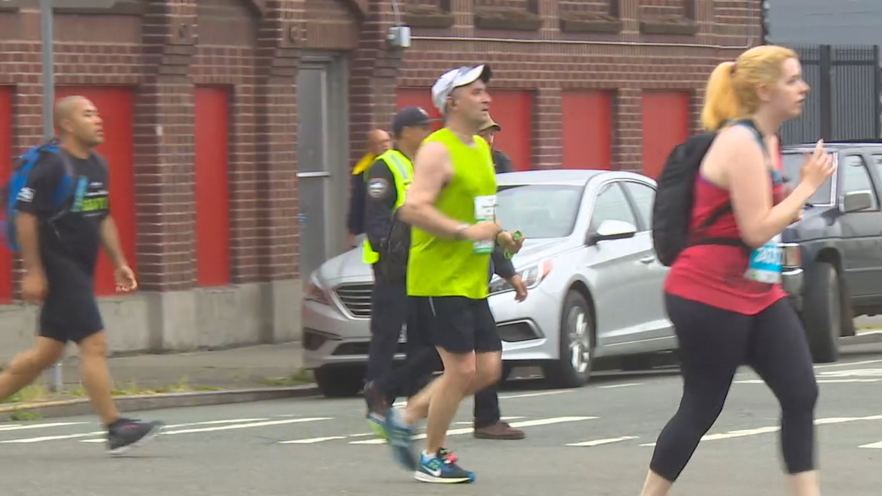 Thousands participated in the Seattle Rock 'n' Roll marathon Saturday. The race started in the University District and ended at CenturyLink Field. KOMO Photo.
