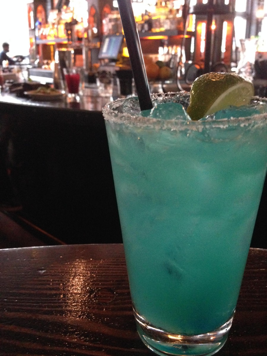 Poquitos' 12th Man Margarita (made with Blue Curacao) will be available Super Bowl Sunday for $7. (Image: Britt Thorson / Seattle Refined)