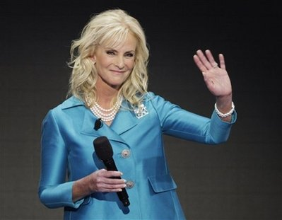 Cindy McCain, wife of Republican presidential candidate John McCain, waves during her speech at the Republican National Convention in St. Paul, Minn., Thursday, Sept. 4, 2008.<p></p>(AP Photo/Ron Edmonds)