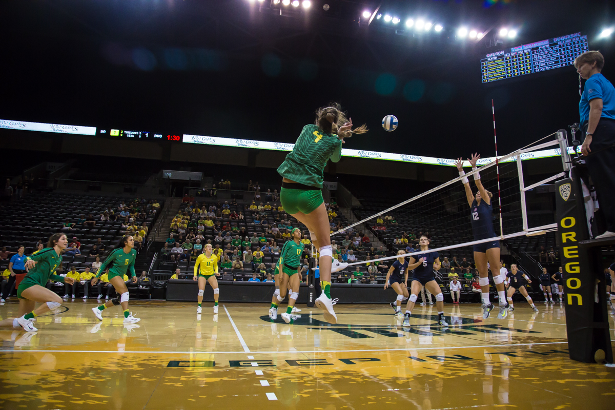 The Oregon Ducks volleyball team defeated Duquesne in three straight sets Saturday night in dominating fashion, extending their overall season record to 7-1. Tonight's win completed this weekend's Nike Classic in which Oregon won all three of their games. Photos by Dillon Vibes