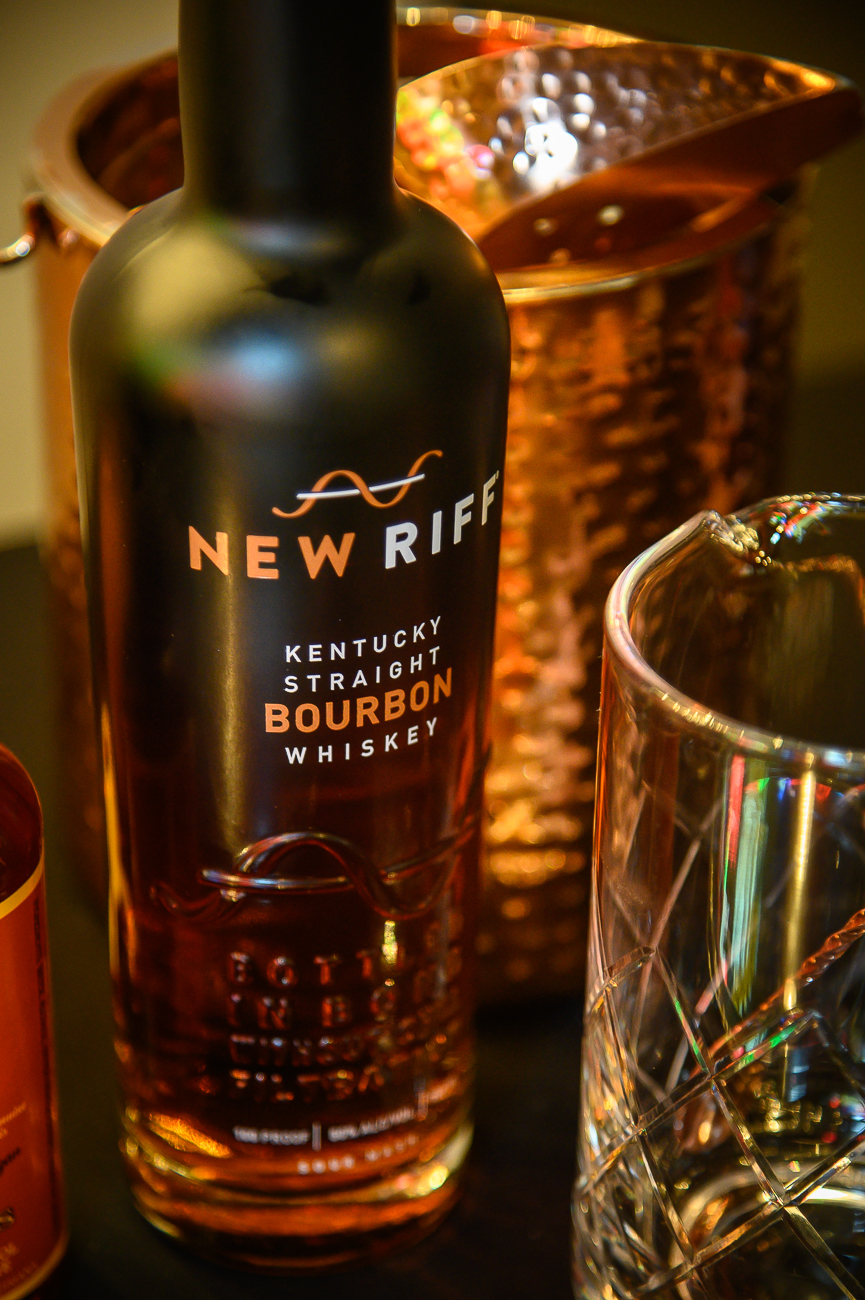 New Riff supplied the bourbon and rye whiskey for the evening. Jay Dickerson and Amy Tobin, both New Riff representatives, were on hand to tell attendees more about their products. / Image: Phil Armstrong, Cincinnati Refined // Published: 1.24.20