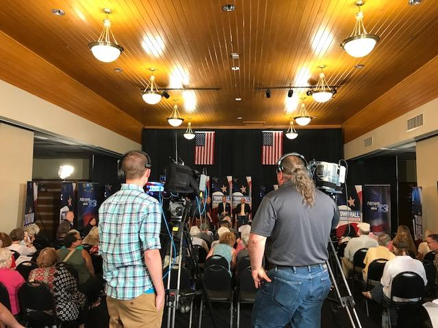 WLOS crews filming the Town Hall. (Photo credit: WLOS Staff)