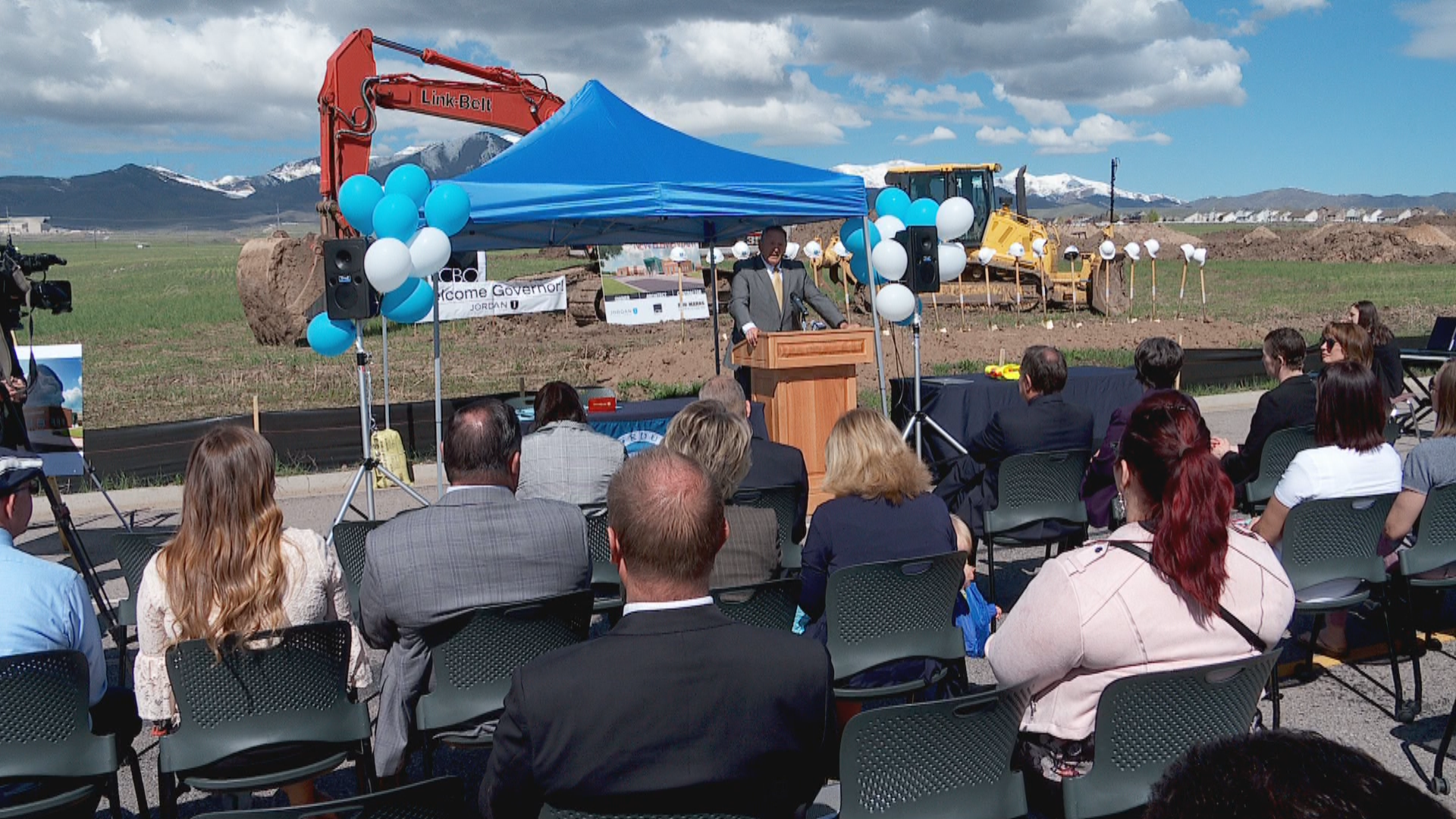 Gov. Gary Herbert signed five major education bills passed by the legislature this last session at a groundbreaking for new elementary school. (Photo: Morgan Saxton / KUTV)