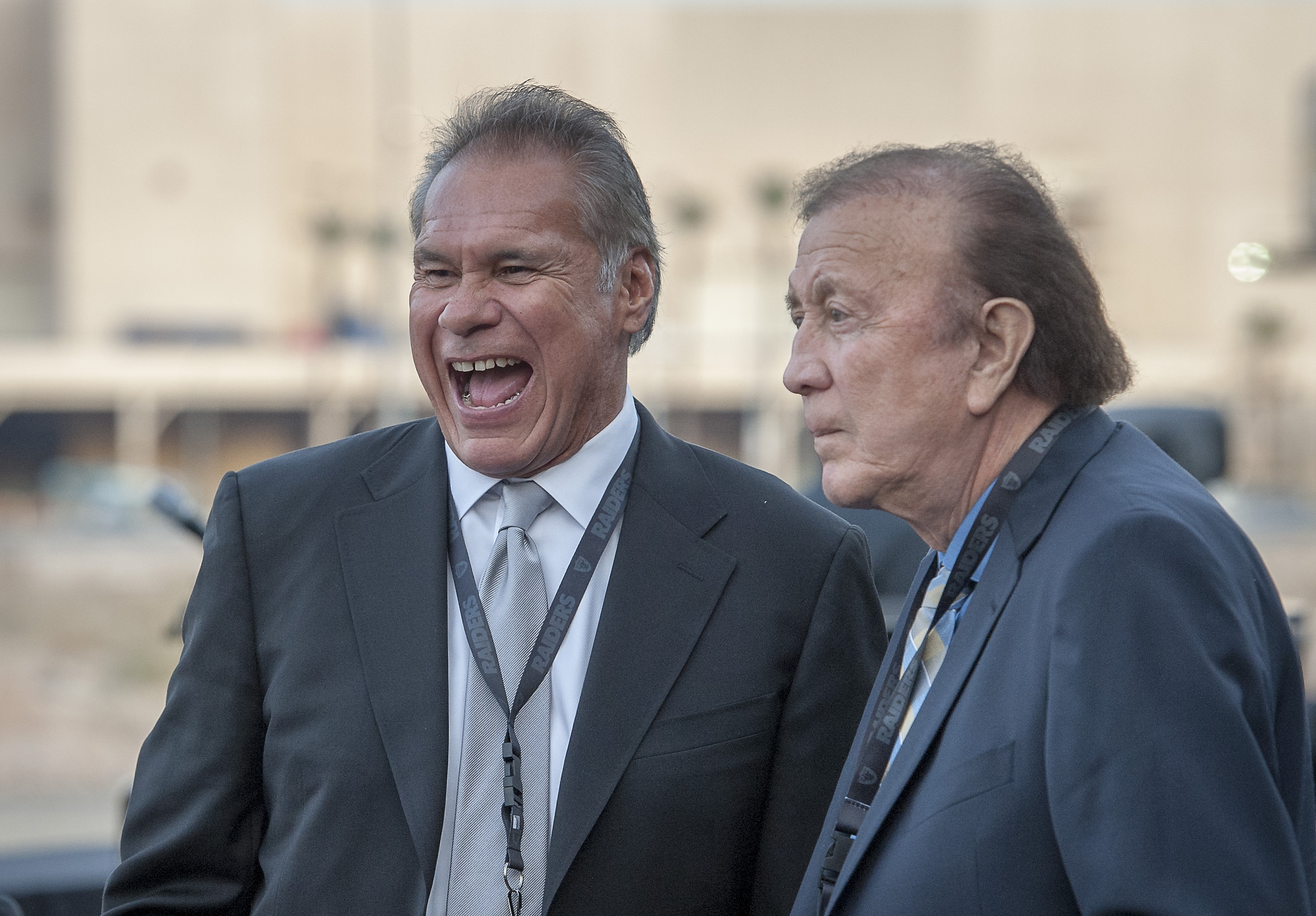 Former Oakland Raiders great Jim Plunkett, left, and coach Art Flores greet friends at the Groundbreaking ceremony for the Raiders Las Vegas Stadium at the Polaris Avenue site in Las Vegas on Monday, Nov. 13, 2017. CREDIT: Mark Damon/Las Vegas News Bureau