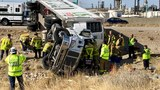 Overturned semi causing delays on I-15 in Salt Lake City