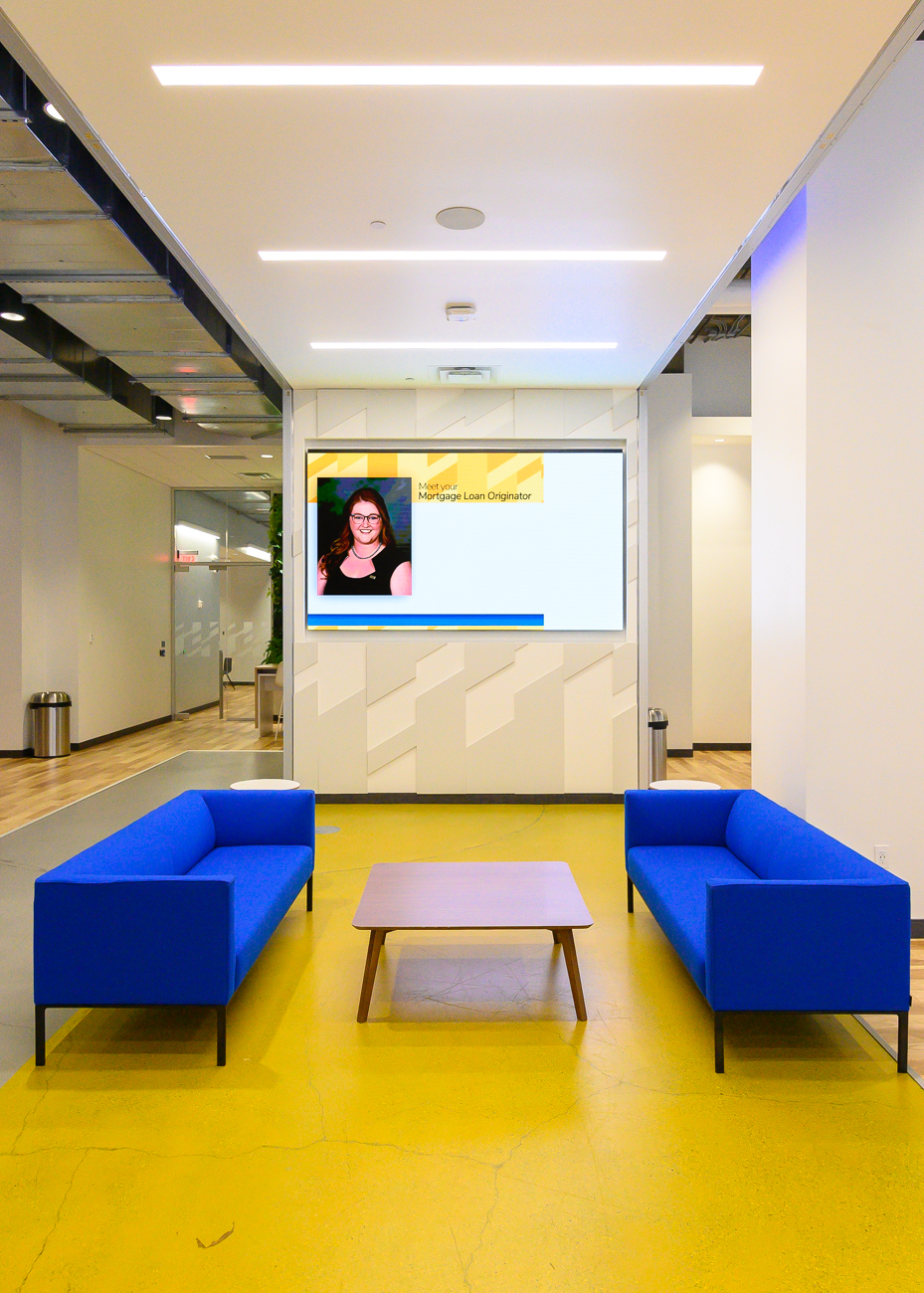 When you walk in, you'll see a yellow floor with a TV screen at the opposite end. This area is ideal for events. Within the TV podium are hookups for built-in speakers and A/V equipment for use in presentations. 4th & Vine is currently averaging 20 events a week, drawing a total of 1,200 people. / Image: Phil Armstrong, Cincinnati Refined // Published: 2.25.20