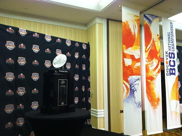 The Coaches' Trophy on display in Miami