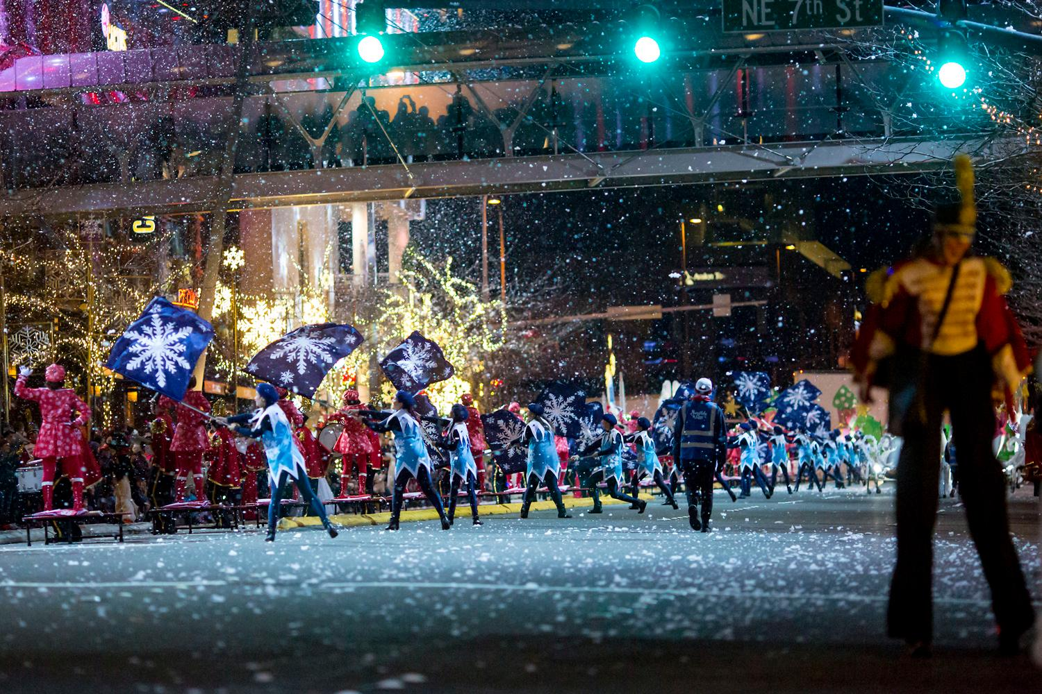 Every night at 7 p.m. through December 24th, Snowflake Lane, produced by the Kemper Freeman Family and The Bellevue Collection, is a magical evening performance for the entire family. It's a holiday spectacle of live toy soldier drummers, music, animated snow characters, glittering lights all surrounded by snow falling every night along Bellevue Way on the street between Bellevue Collection, Lincoln Square and Bellevue Place in Bellevue, Washington. (Image: Sy Bean / Seattle Refined)