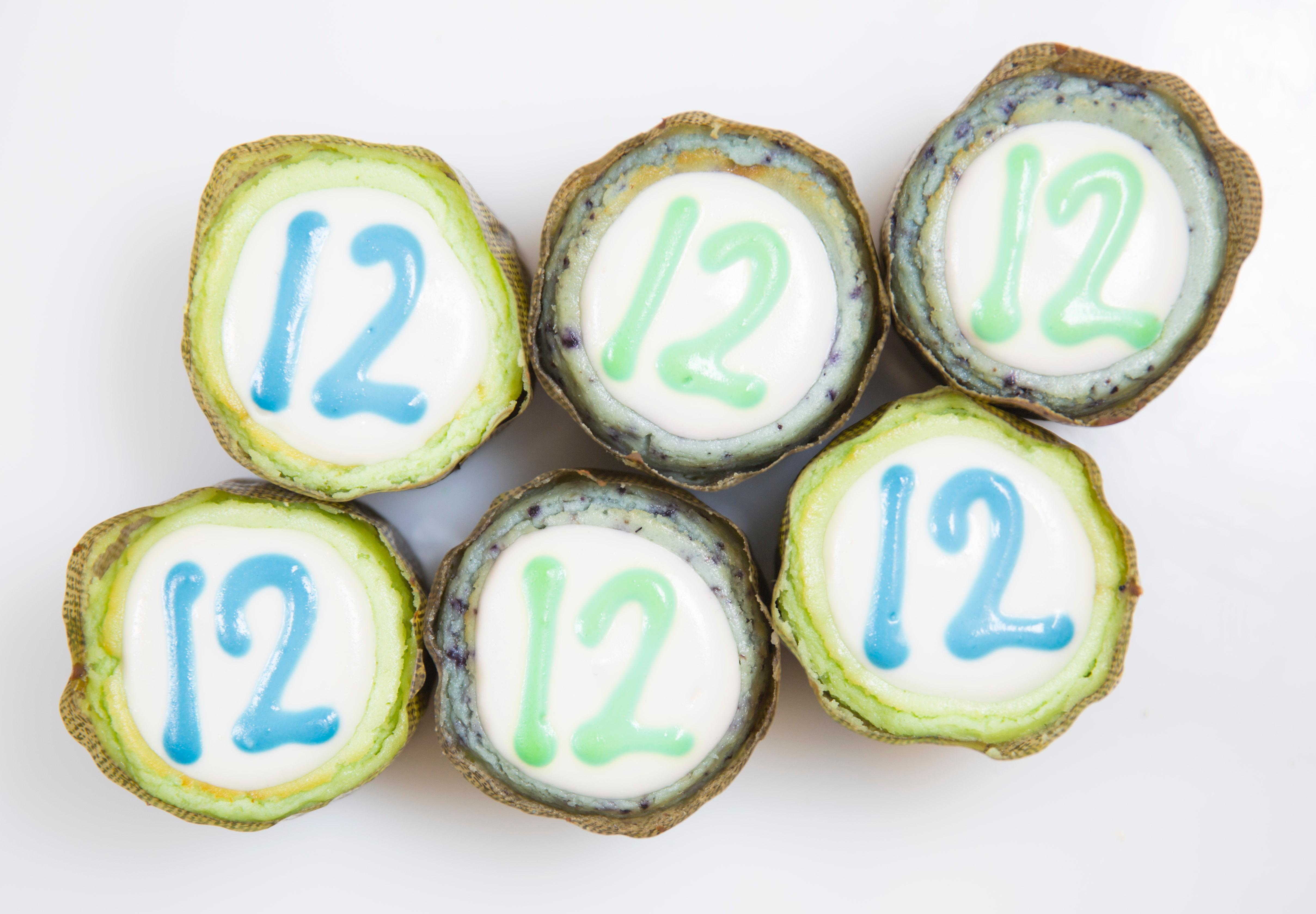 Found at The Confectional in Pike Place Market is the 12th Man Blueberry Lime Cheesecakes. (Sy Bean / Seattle Refined)