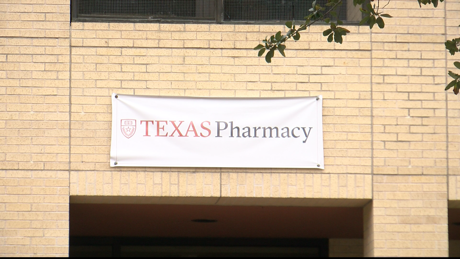 The pharmacy school building at the University of Texas was vandalized with graffiti overnight. (CBS Austin)